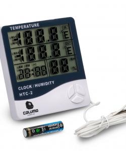 Temperatur- und Feuchtigkeitsmessgerät mit Uhr und Sonde